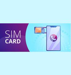 phone sim card concept banner cartoon style vector image
