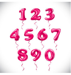 Pink number 1 2 3 4 5 6 7 8 9 0 metallic balloon vector