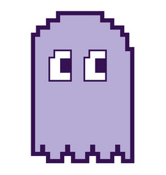 pixelated ghost monster arcade game icon vector image