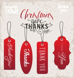 Red Christmas Gift Thank You Tags in Vintage Style vector image