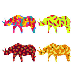Rhino with a pattern of berries and fruit vector