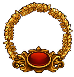 Round gold frame with red button and copy space vector