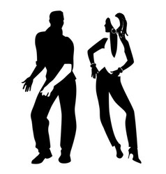 Salsa party time young couple dancing latin music vector