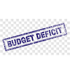 Scratched budget deficit rectangle stamp vector