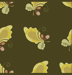 Seamless autumn print with oak leaves and acorns vector