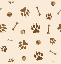 seamless pattern with dog paws bones and balls vector image