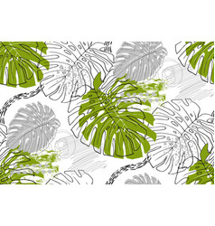 seamless tropical pattern in style doodle vector image