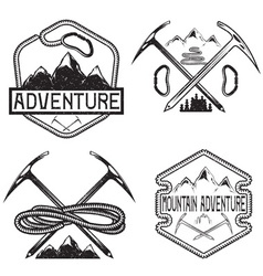 Set of grunge vintage labels mountain adventure vector