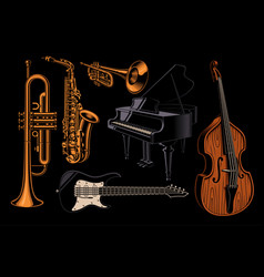 set of of different musical instruments vector image