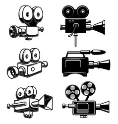 Set retro video camcorder isolated on white vector