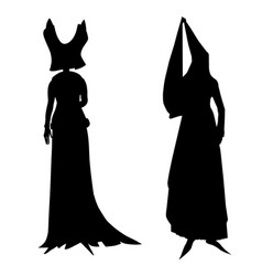 Silhouettes of female medieval costumes vector