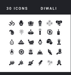 simple icons diwali vector image