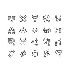 simple set team work related line icons vector image