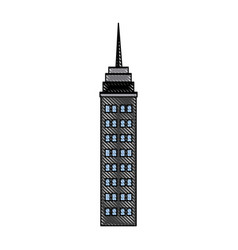 Skyscraper building antenna roof commercial vector