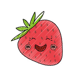 Strawberry sweet fruit kawaii cute cartoon vector