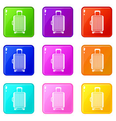 suitcase on wheels set 9 vector image