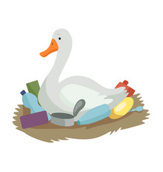Swan sitting in the nest of plastic waste global vector