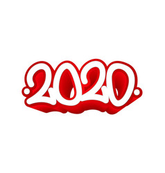 tag 2020 year graffiti tag template for your vector image