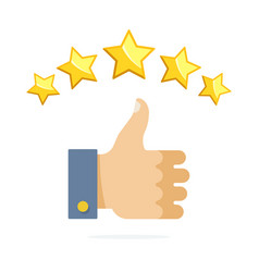 Thumb up and five stars rating vector