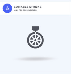 unicycle icon filled flat sign solid vector image