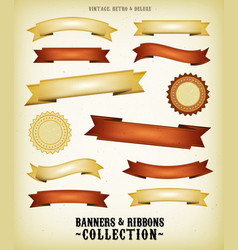 vintage banners and ribbons set vector image