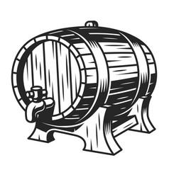 vintage beer wooden barrel template vector image