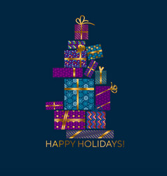 violet and blue xmas gift box vector image