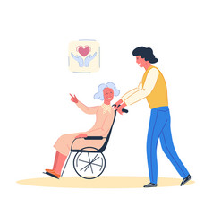 Volunteer with elderly disabled woman vector