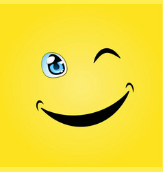 Yellow smile wink background vector