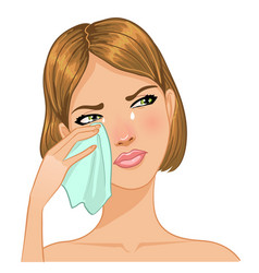 Young woman cries and wipes tears from her face vector