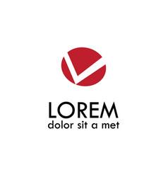 circle letter v logo vector image