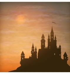 Fantasy castle moonlight sky vector