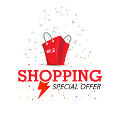 shopping special offer red bag background i vector image