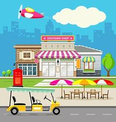 Souvenir shop design background vector image