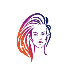 women long hair style icon logo women on white vector image
