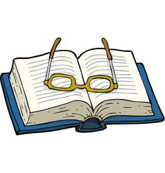 book with glasses vector image vector image