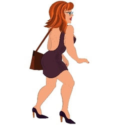 Cartoon girl in open back dress and glasses vector image