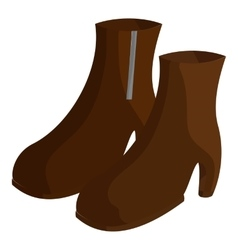 Pair of brown female boots icon cartoon style vector image