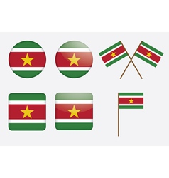 Suriname flag badges vector