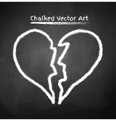 Chalked broken heart vector image