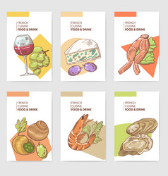 french cuisine hand drawn cards brochure menu vector image
