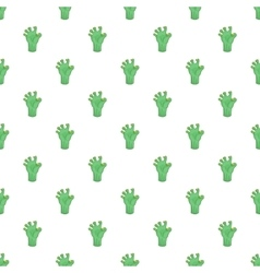 Green zombie hand pattern cartoon style vector