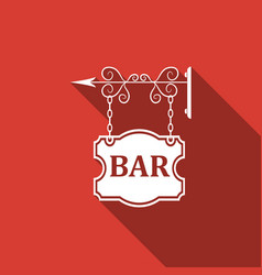 bar signboard isolated with long shadow vector image vector image