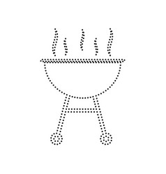 barbecue simple sign black dotted icon on vector image