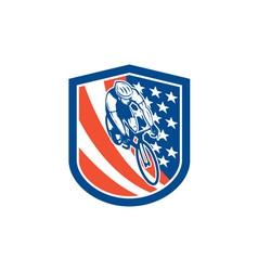 Bicycle Rider USA Flag Shield Retro vector image vector image