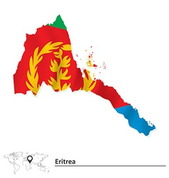 Map of Eritrea with flag vector image vector image