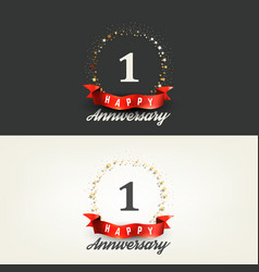 1 year happy anniversary banners vector