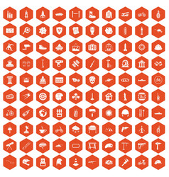 100 helmet icons hexagon orange vector