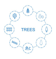 8 trees icons vector image
