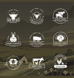 A large collection logos for farmers vector